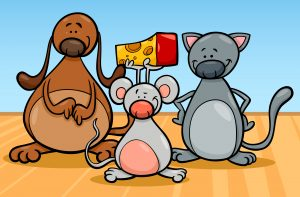 Cartoon Illustration of Cute Dog Cat and Mouse Pets Characters